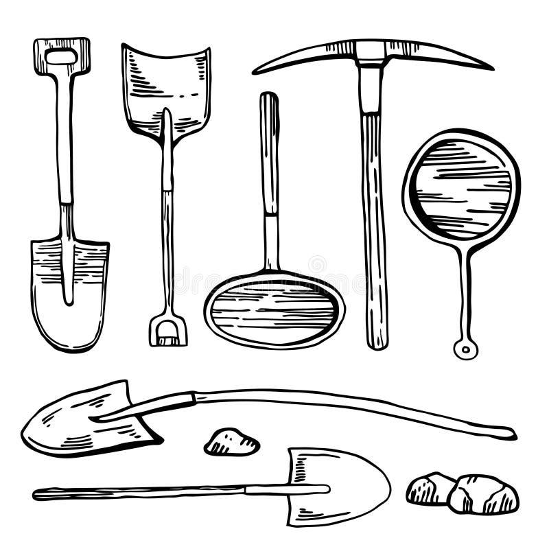 开采的和开掘的工具 传染媒介手拉的葡萄酒概述图表套历史的铁锹、采撷和平底锅 库存例证