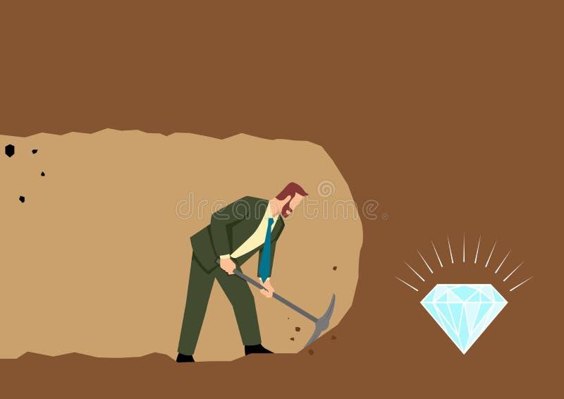 开采的商人开掘和发现珍宝 库存例证