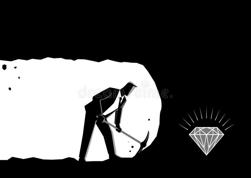 开采的商人开掘和发现珍宝 向量例证