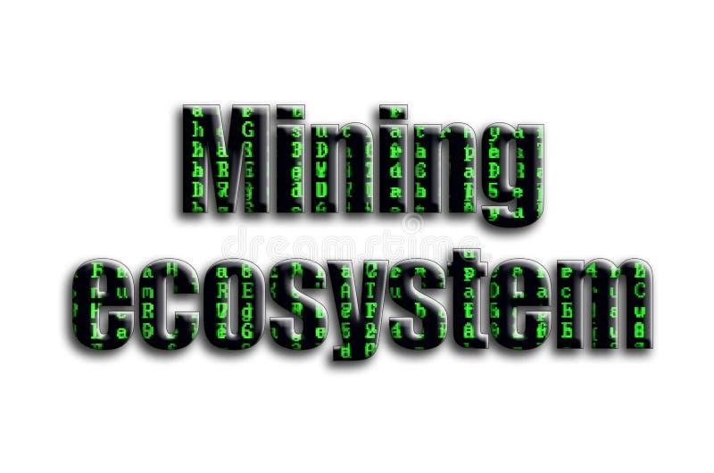 开采的生态系 题字有摄影的纹理,描述绿色小故障标志 免版税库存照片