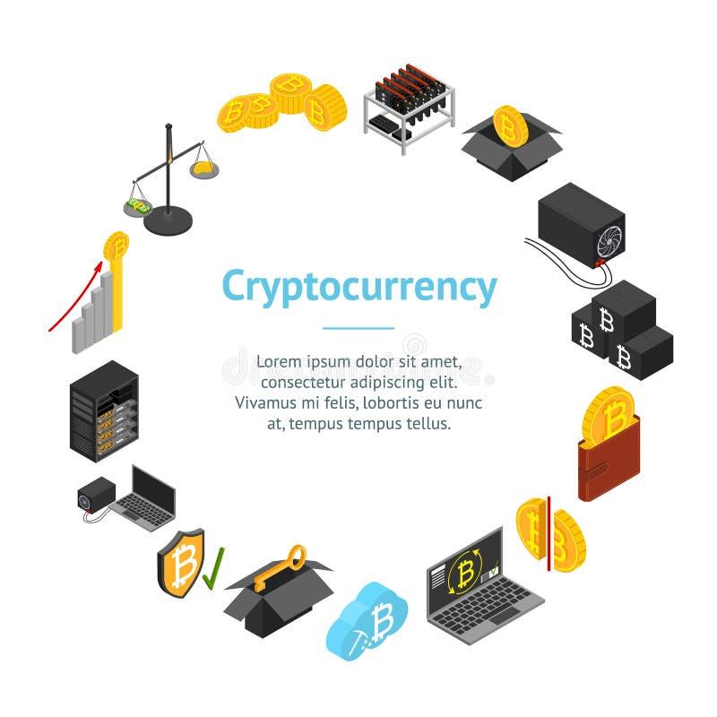 开采Blockchain横幅卡片圈子等轴测图的Cryptocurrency 向量 向量例证