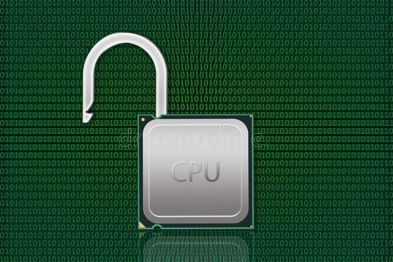 开锁的CPU有数据背景 库存照片