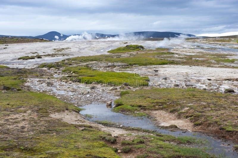 离开风景,地热田Hveravellir,冰岛 库存照片