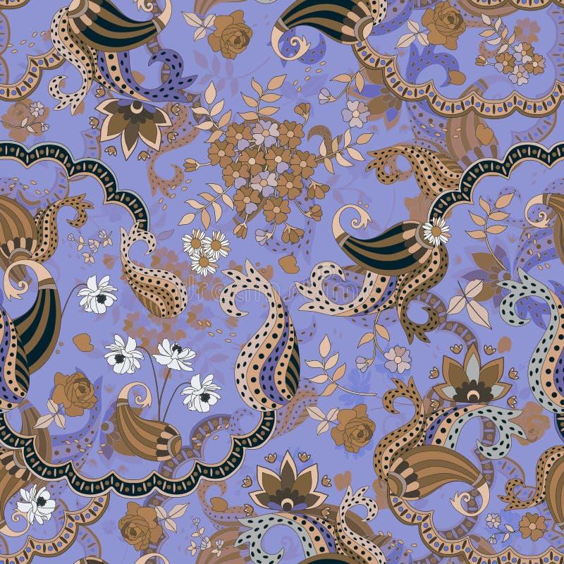 异乎寻常的在beoge和蓝色口气的buta花饰 在种族样式的方形的无缝的样式 波斯,印地安,中国动机 向量例证