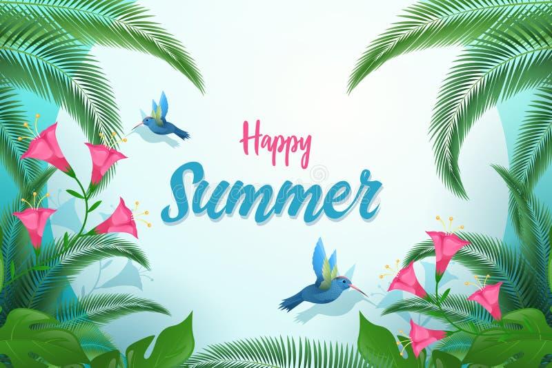 异乎寻常的夏天平的传染媒介横幅模板 与装饰棕榈树叶子的愉快的夏天书法,热带叶子 皇族释放例证