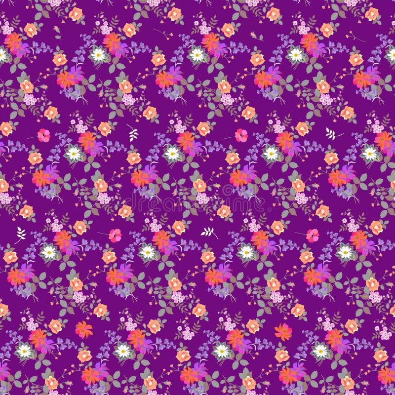 异乎寻常的无缝的花卉背景 庭院花花束在淡紫色背景隔绝的 织品的印刷品 皇族释放例证