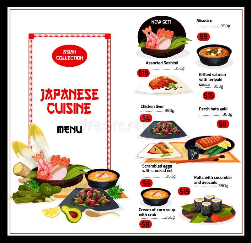 异乎寻常的日本盘烹调菜单 皇族释放例证