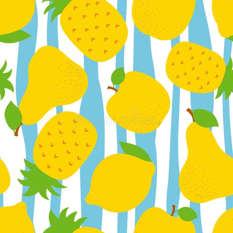 异乎寻常的果子无缝的样式 甜菠萝、梨和苹果 黄色柠檬 时尚设计 礼服的,纺织品食物印刷品, 皇族释放例证