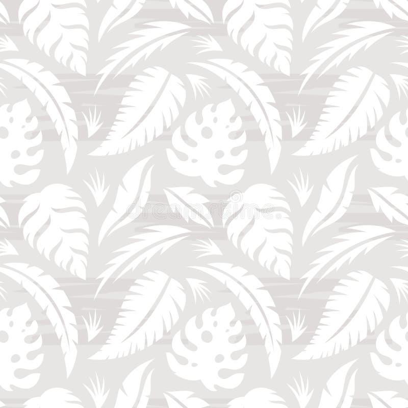 异乎寻常的植物-创造性的传染媒介例证叶子  在灰色颜色的花卉无缝的样式 抽象构思设计背景 库存例证