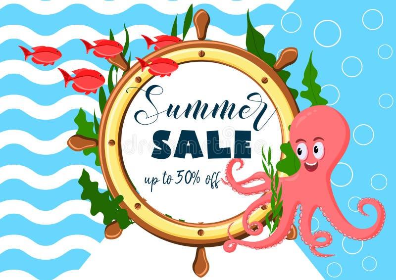 异乎寻常的海夏天销售背景用章鱼,海洋鱼,海杂草运输轮子和文本 向量例证