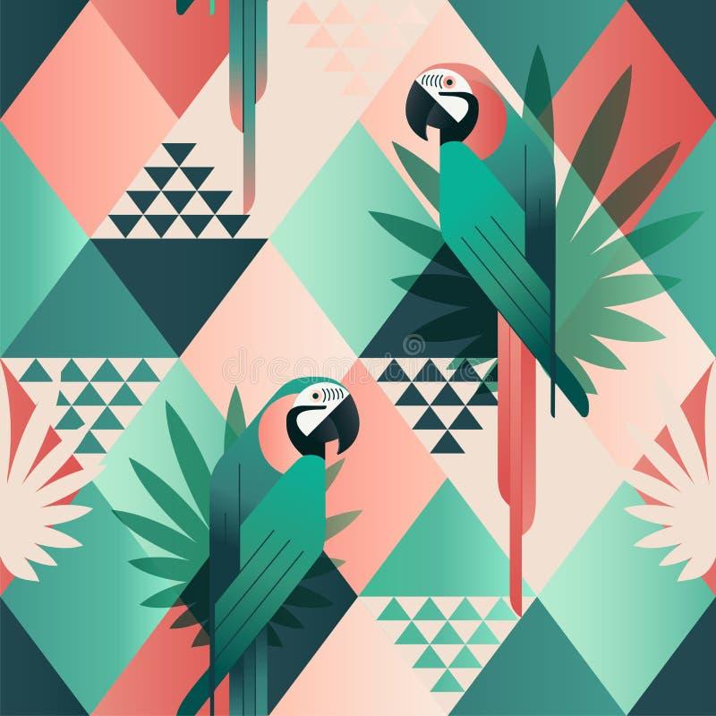 异乎寻常的海滩时髦无缝的样式,补缀品说明了花卉热带叶子 密林红色和绿色鹦鹉 墙纸 皇族释放例证