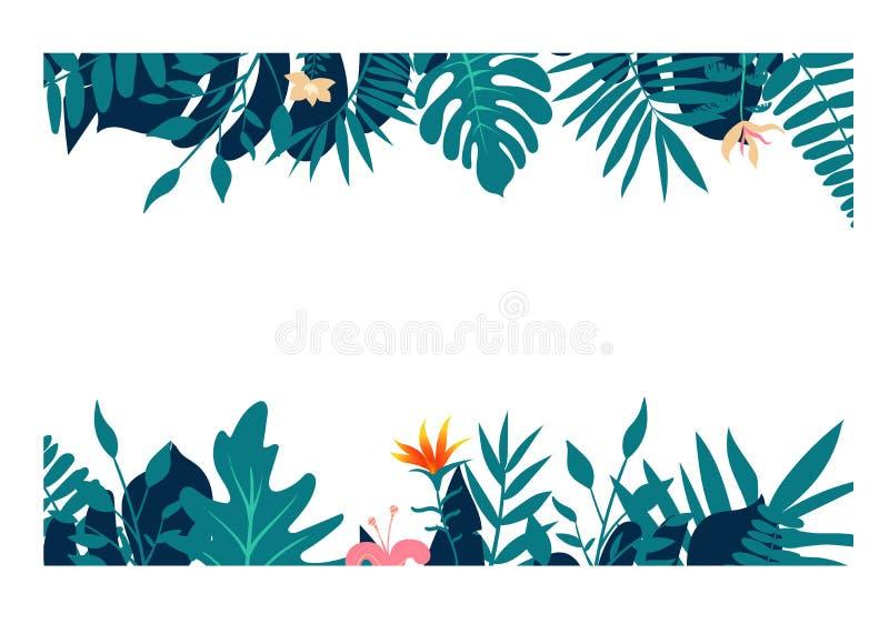 异乎寻常的热带密林雨林鲜绿色的海军绿松石棕榈树和monstera叶子边界框架模板 库存例证
