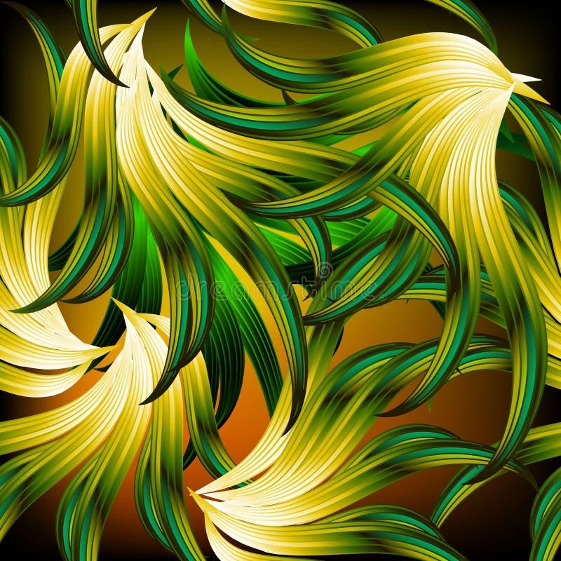 异乎寻常的热带抽象叶茂盛传染媒介无缝的样式 现代o 皇族释放例证