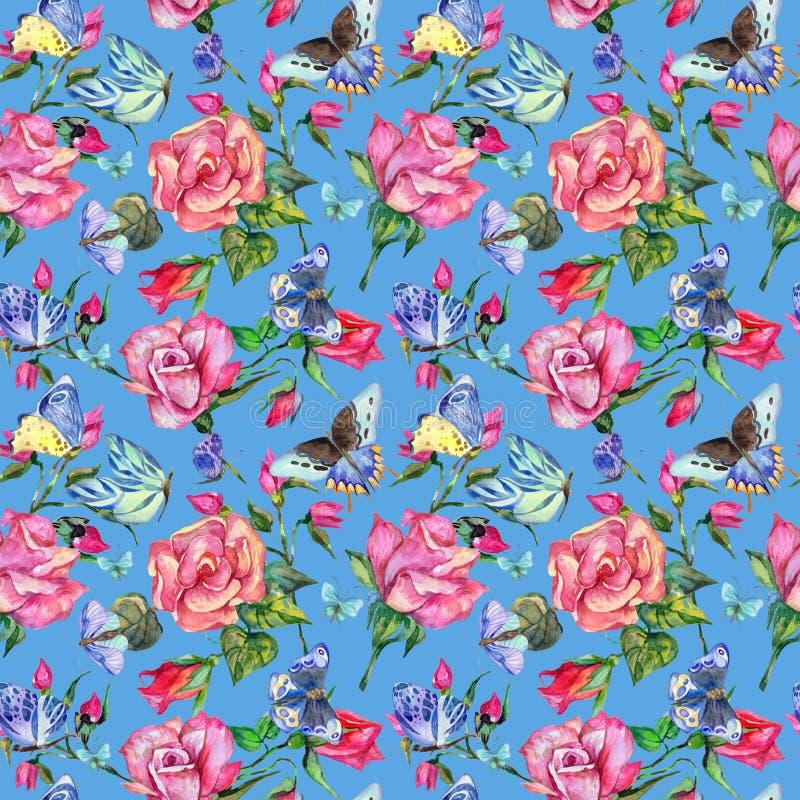 异乎寻常的蝴蝶狂放的昆虫和玫瑰样式在水彩样式 库存例证