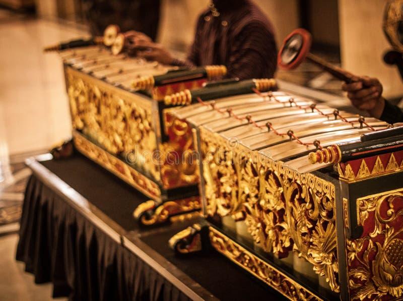 异乎寻常的gamelan音乐传统从jogja印度尼西亚 免版税库存图片