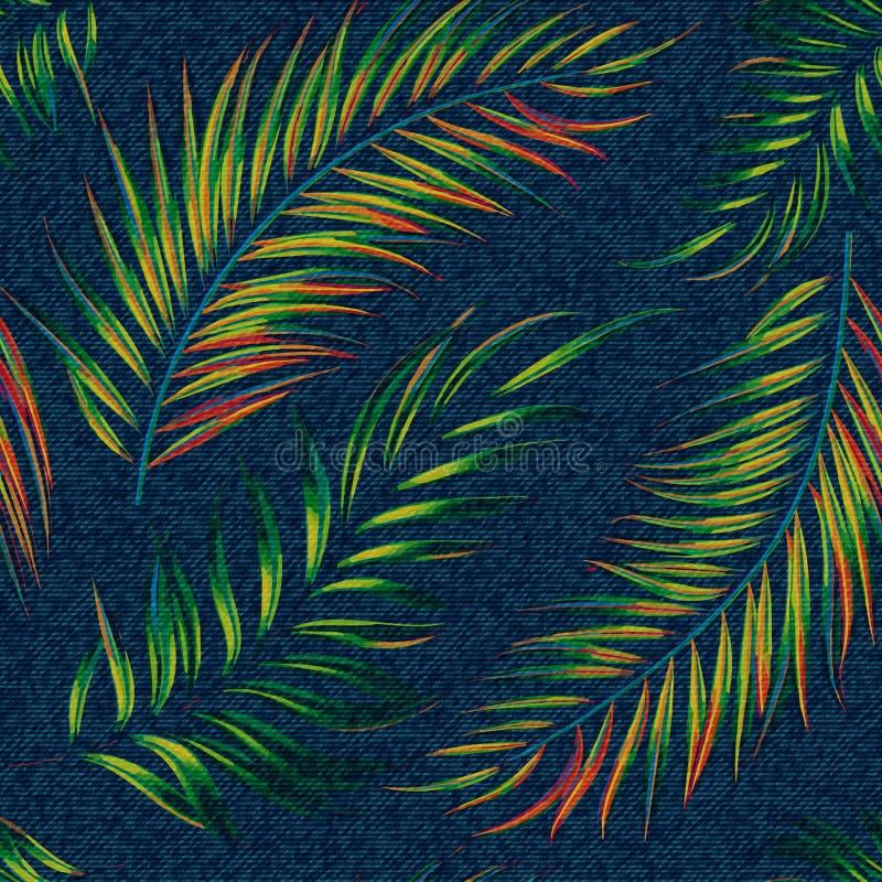 异乎寻常的在牛仔布背景的叶子无缝的印刷品 在深蓝背景的明亮的棕榈叶,彩图,蓝色牛仔裤 皇族释放例证