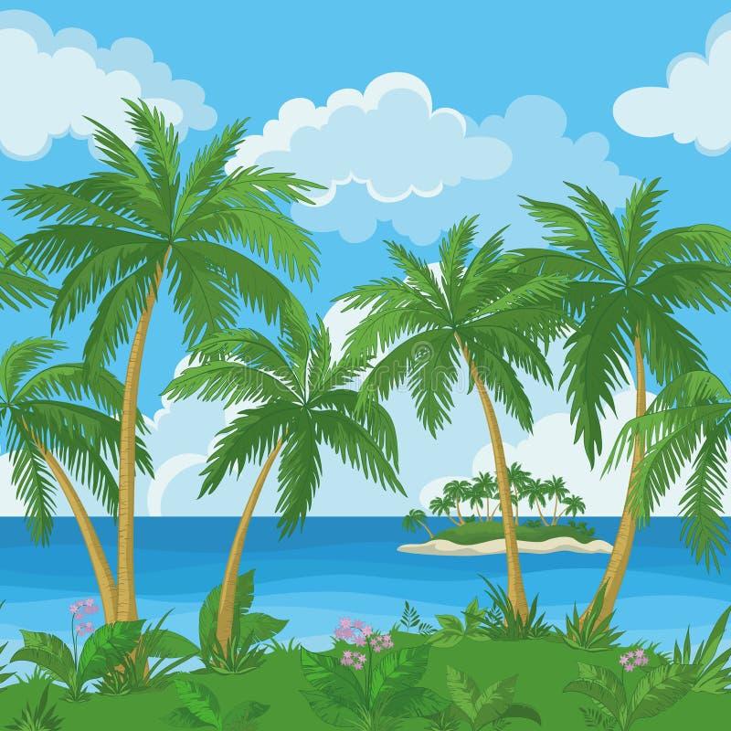 异乎寻常的无缝的热带海风景 库存例证