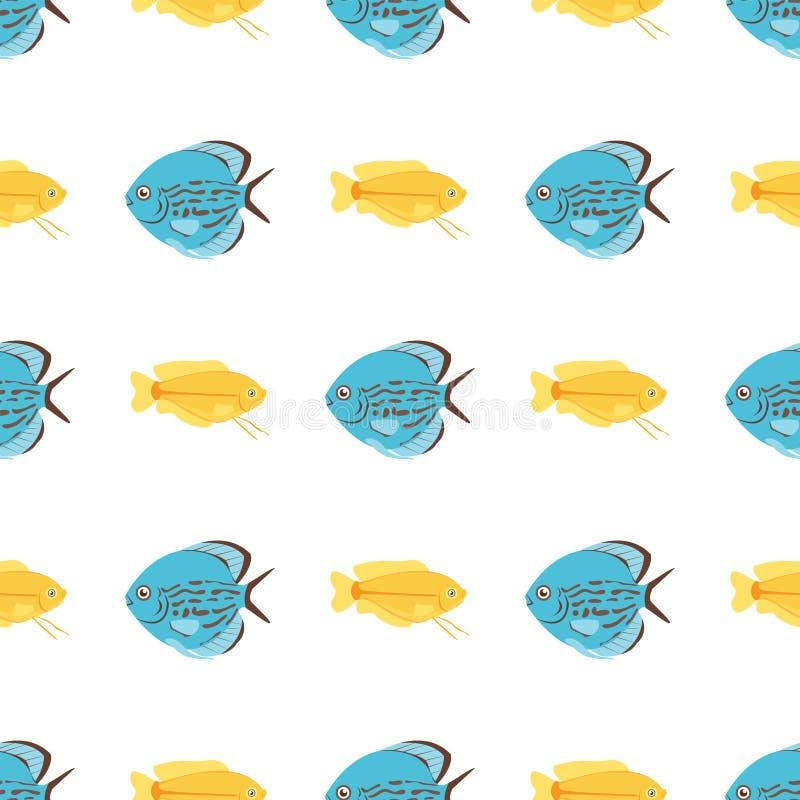 异乎寻常的热带鱼无缝的样式上色水下的海洋种类水生自然舱内甲板被隔绝的传染媒介例证 向量例证