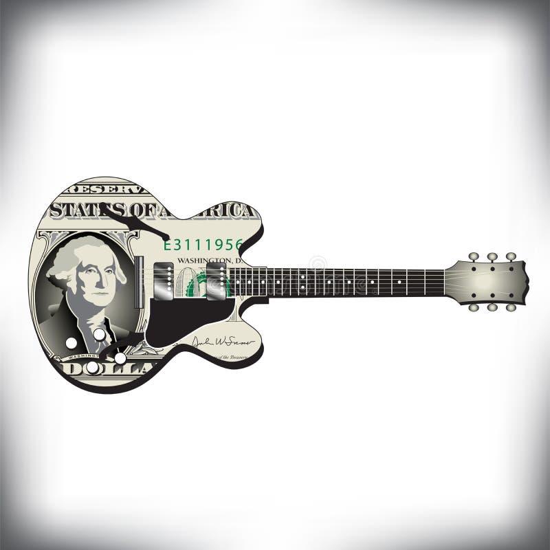 异常的吉他艺术,理想对音乐CD的盖子 向量例证