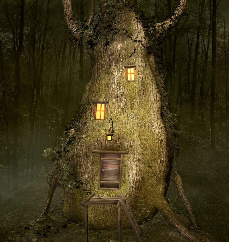 异常的房子建造在一根老树干里面 库存例证