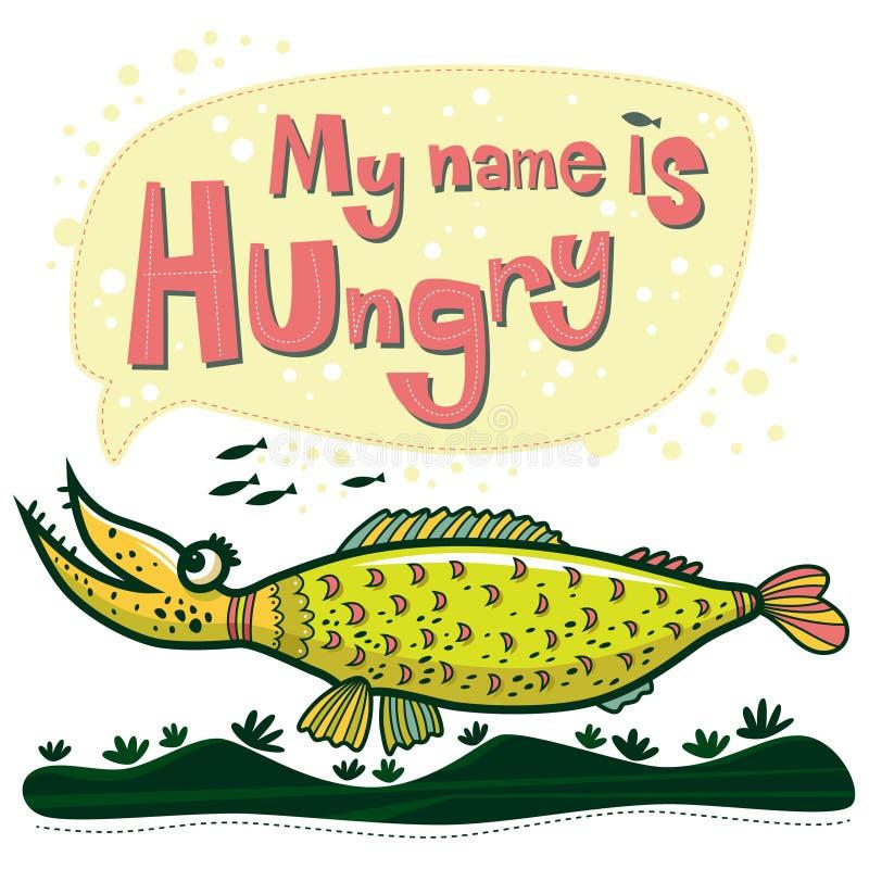 异常的鱼说她的名字饿 向量例证
