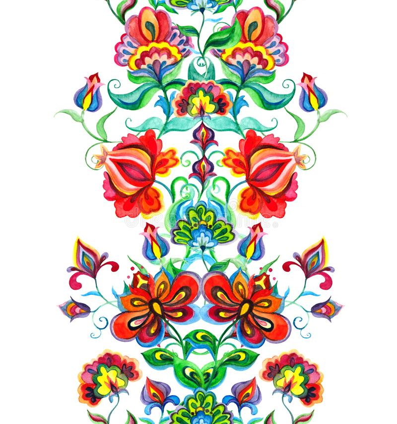 异想天开的民间艺术装饰品-与神仙的花的无缝的花卉边界 水彩线 向量例证