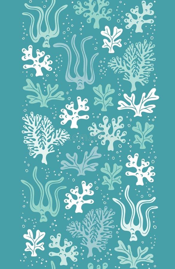 异想天开的逗人喜爱的手拉的海洋生活,珊瑚,海草,海藻导航无缝的垂直的边界 r 向量例证