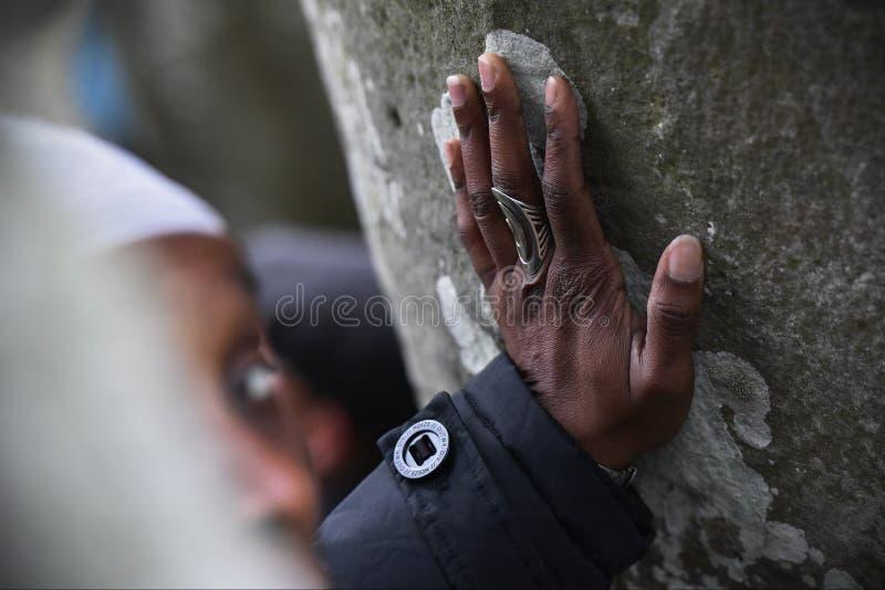 异教徒和督伊德教憎侣在巨石阵标记冬至 免版税库存照片