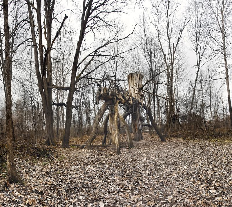 异教的寺庙在尼古拉Lenivets Archstoyanie,国立公园Ugra,俄罗斯 免版税图库摄影