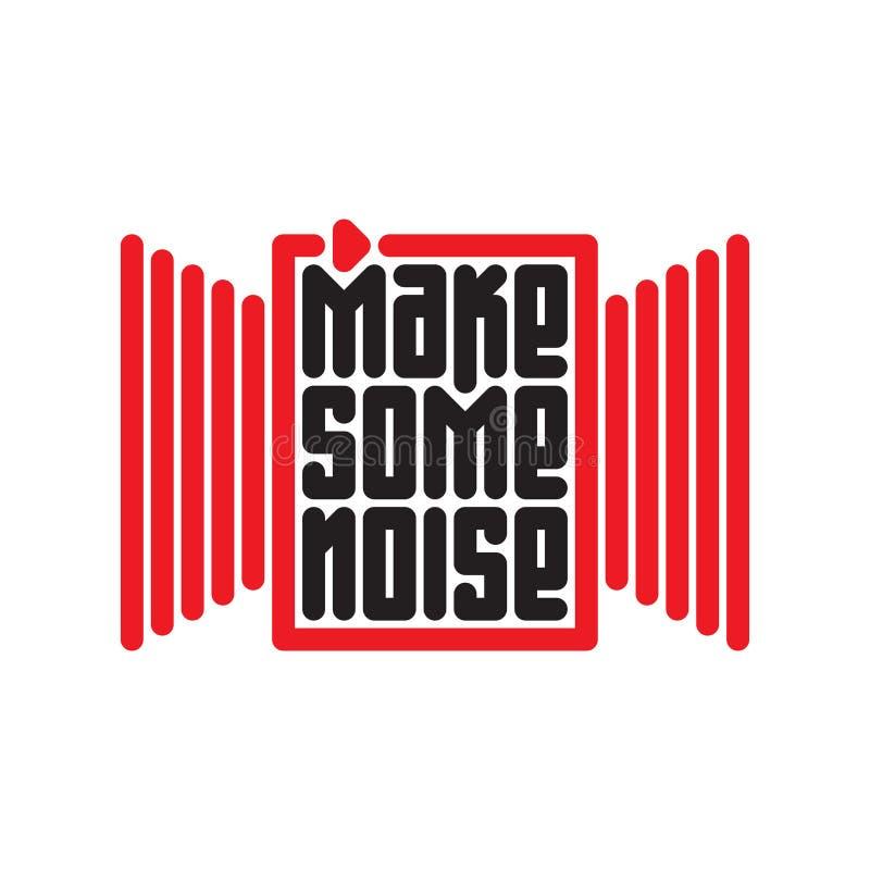 弄出一些声响-音乐与红色按钮的海报或T恤杉设计 向量例证