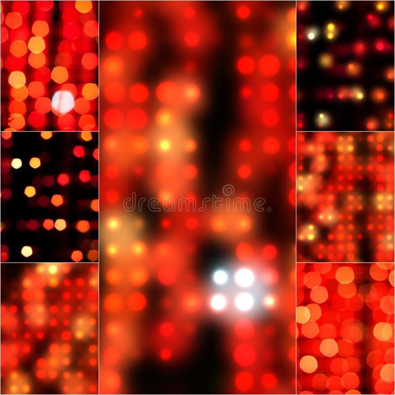 弄脏在红颜色的抽象背景bokeh作用 在葡萄酒减速火箭的口气的被弄脏的光 模糊的bokeh圈子为 库存图片