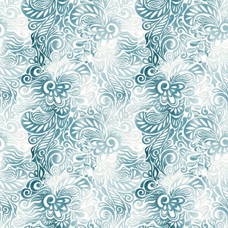 弄脏无缝花卉墨水的模式 向量例证