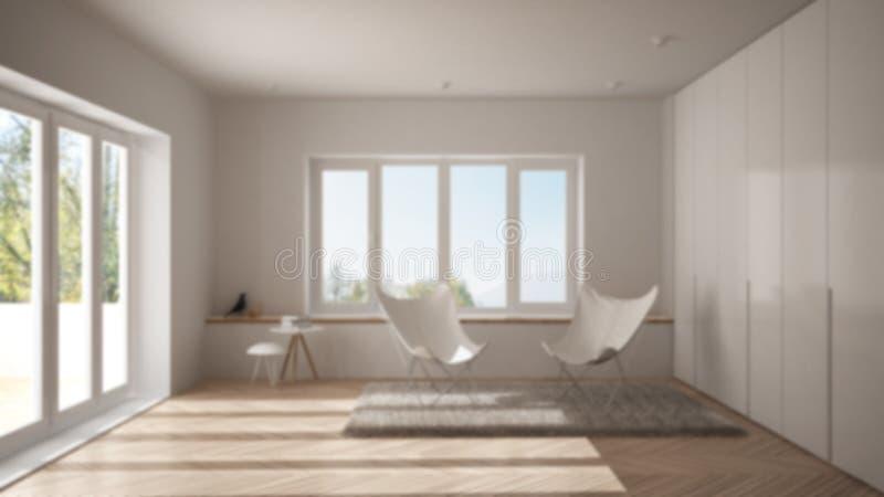 弄脏背景室内设计、最小的客厅有扶手椅子地毯的,镶花地板和全景窗口,斯堪的纳维亚语 免版税图库摄影