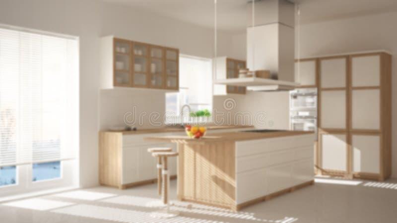 弄脏背景室内设计,现代木和白色厨房有海岛、凳子和窗口的,木条地板人字形地板 免版税图库摄影