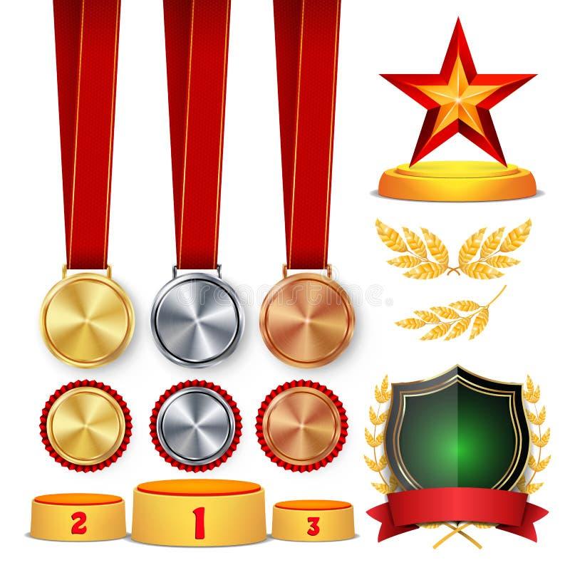 仪式优胜者荣誉奖 战利品授予杯、金黄月桂树花圈与红色丝带和金盾,奖牌模板 皇族释放例证