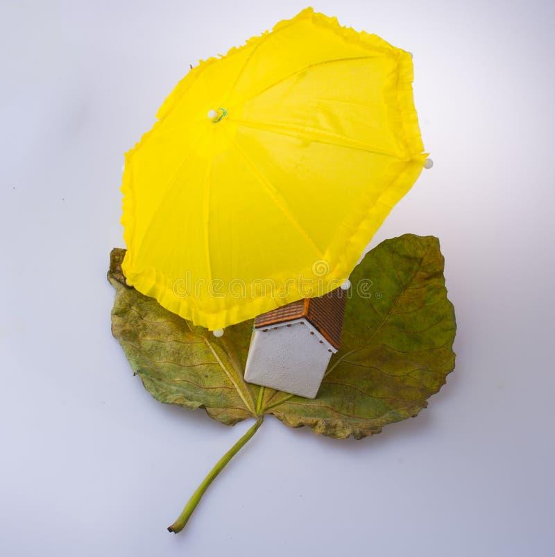 式样房子被安置在秋天叶子和在伞下 库存照片