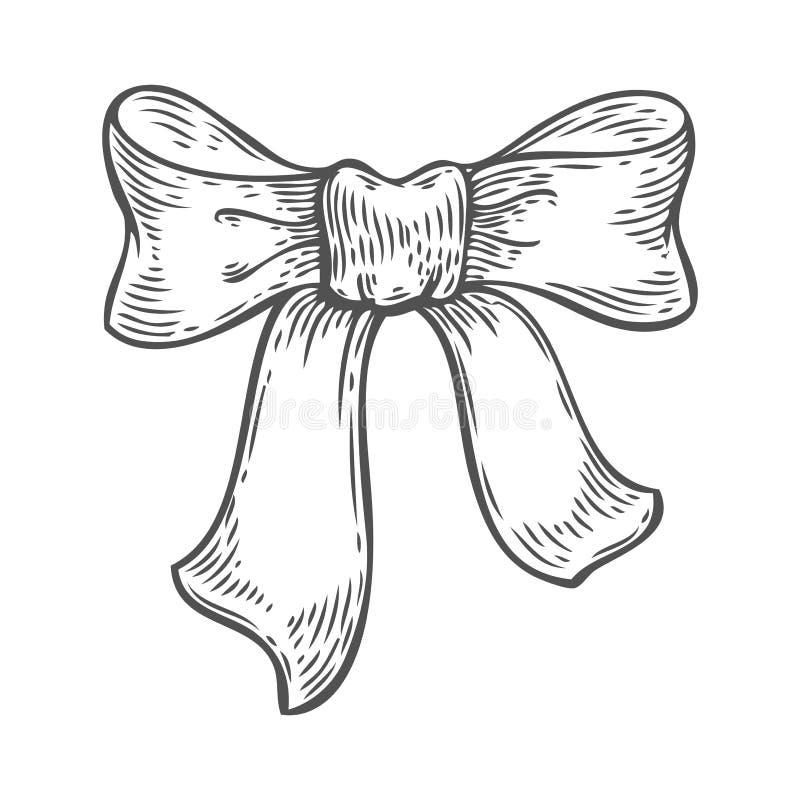 弓丝带婚礼在白色背景隔绝的缎设计 徒手画的概述墨水图片