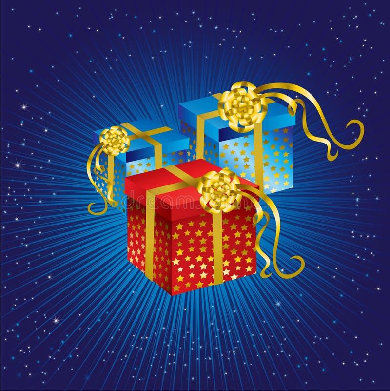 弓圣诞节金存在星形 向量例证