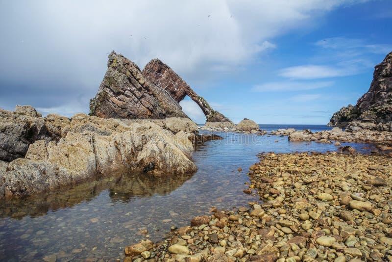 弓在Portknockie的无意识而不停地拨弄岩石 免版税库存图片