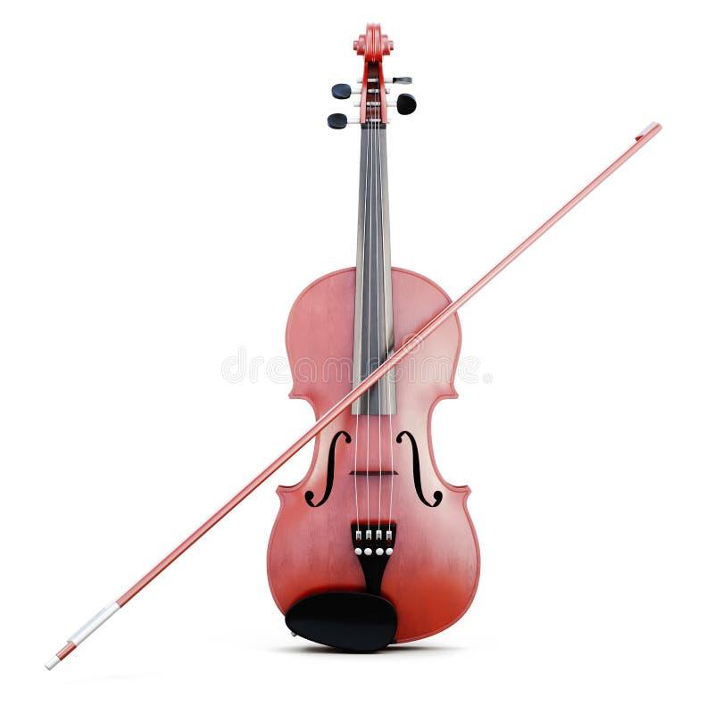 弓查出小提琴 正面图 3d翻译 向量例证