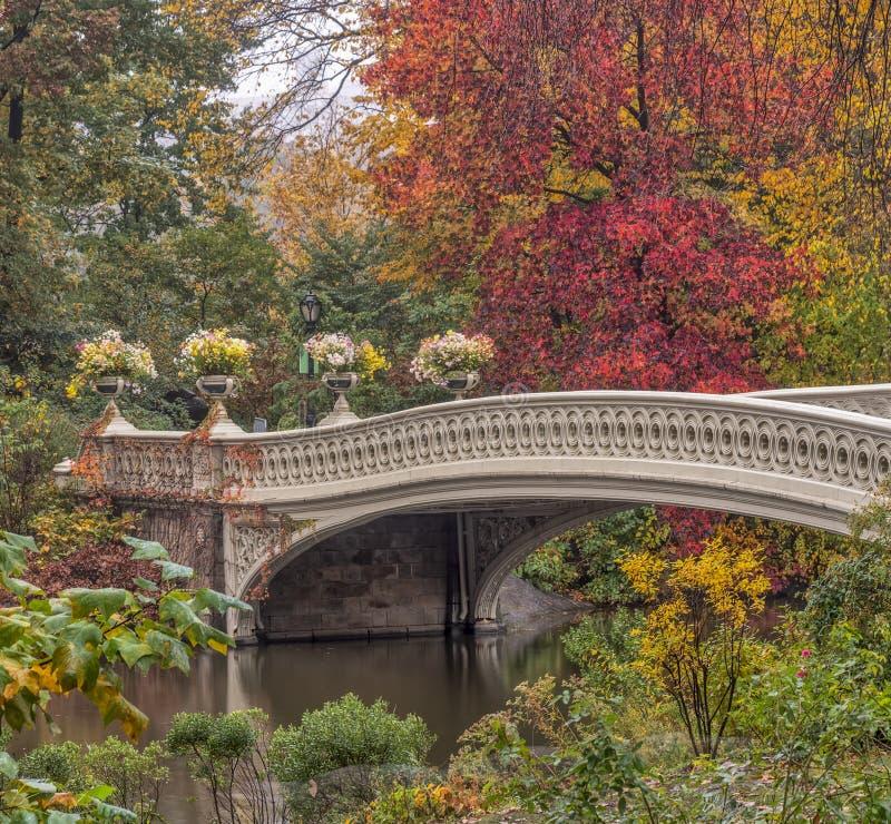 弓桥梁在纽约,中央公园曼哈顿 免版税库存图片