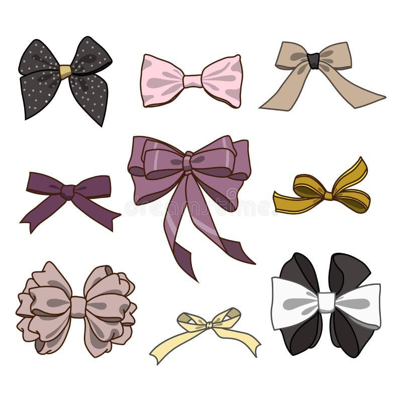 弓的时尚汇集 在土气样式的传染媒介五颜六色的例证 库存例证