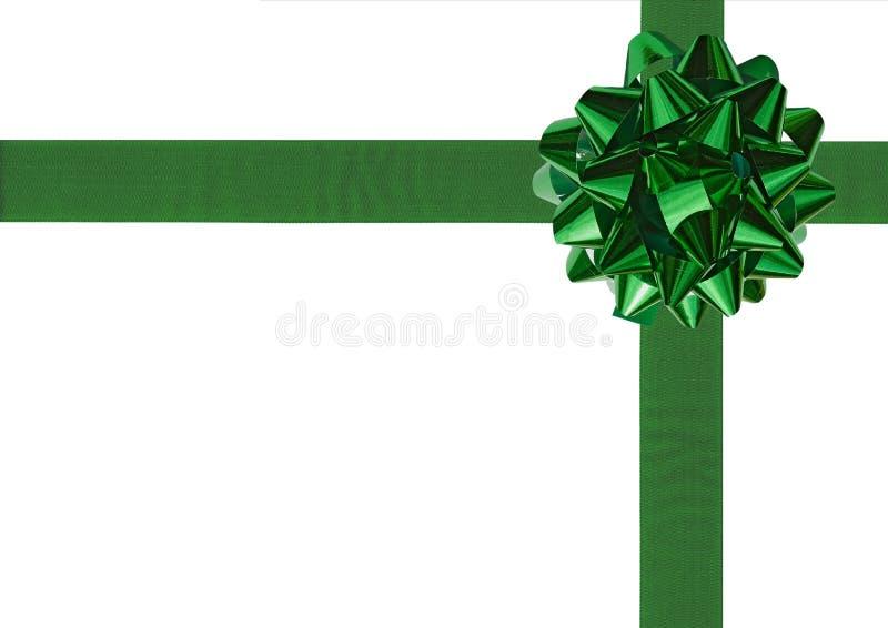 弓礼品绿色丝带包裹 免版税图库摄影