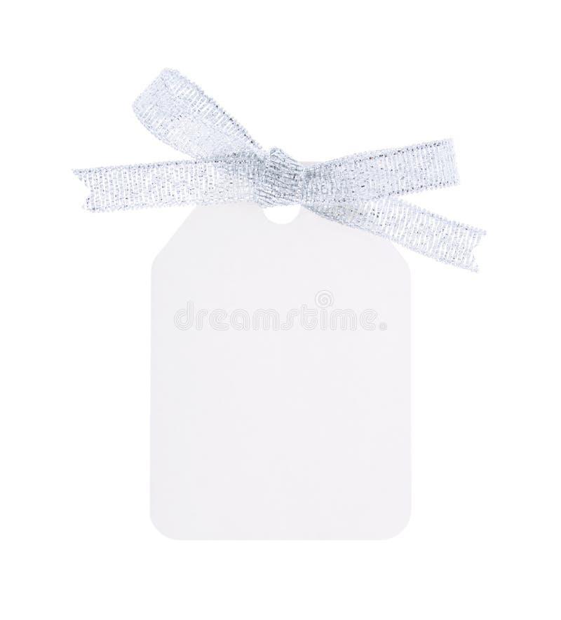 弓礼品银标签白色 免版税库存图片