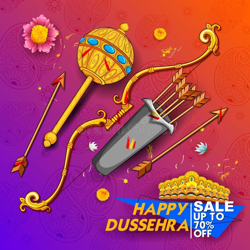 弓箭十阁下Rama和走向Ravana印度的愉快的Dussehra Navratri推销活动节日 向量例证