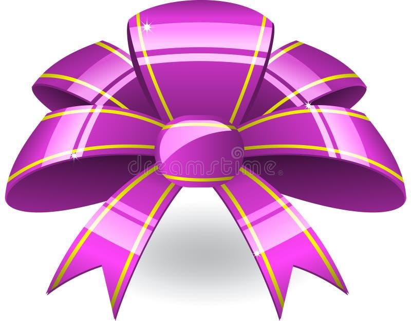 弓紫色丝带 库存例证