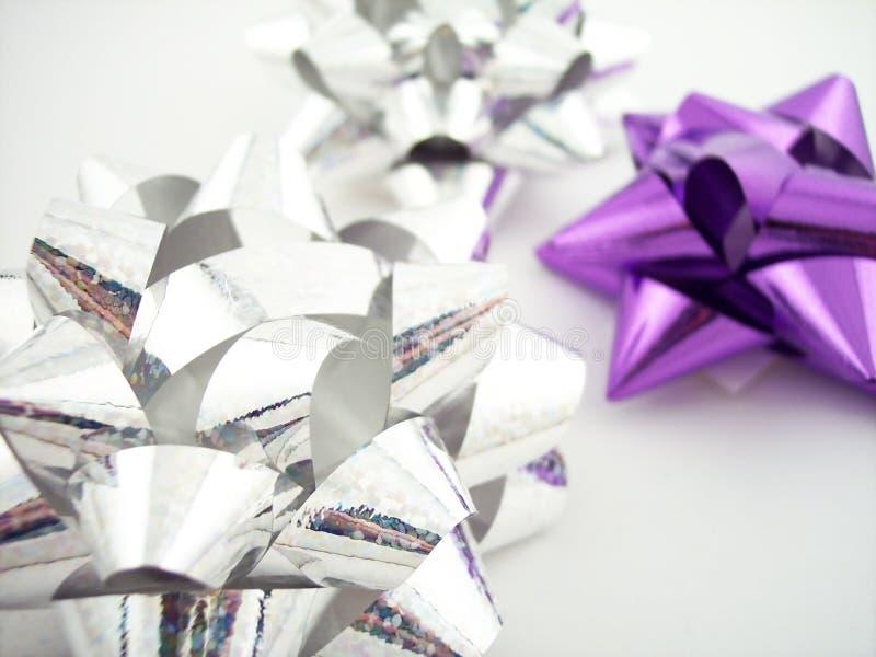 弓紫色系列银 库存照片