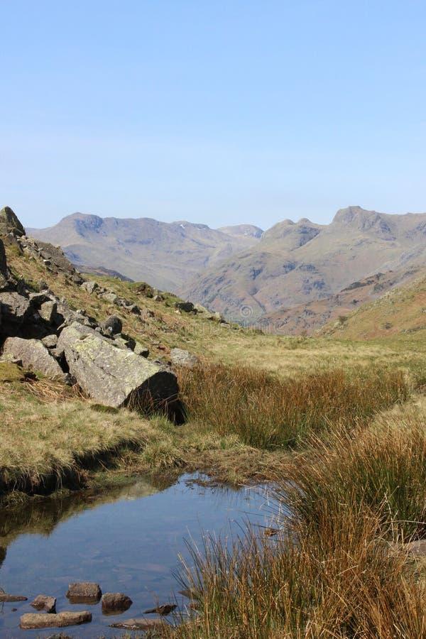 弓落和Langdale矛,英国湖区 库存图片