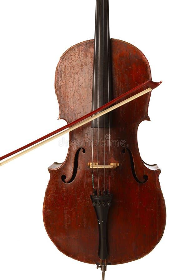 弓葡萄酒的大提琴关闭 图库摄影