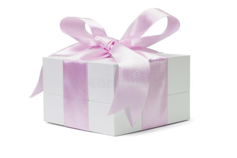 弓配件箱礼品粉红色丝带白色 库存图片